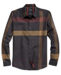 Guess Men's Canyon Plaid Shirt Canyon Plaid Jet Black