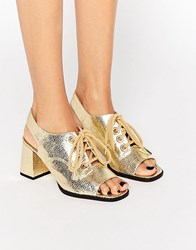Asos Tang Lace Up Rope Sandals Gold