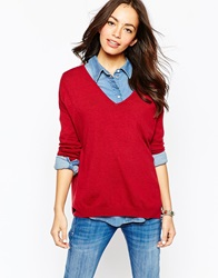Esprit V Neck Sweater Darkred