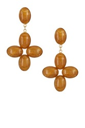 Yochi Design Oval Stone Earrings Orange
