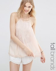 New Look Tall Pintuck Plaited Strap Cami Top Shell Pink