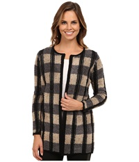 Brigitte Bailey Agreeable Striped Cardigan Granite Women's Sweater Gray