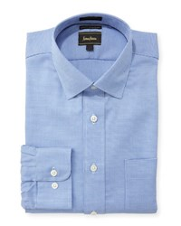 Neiman Marcus Classic Fit Micro Check Dress Shirt Blue