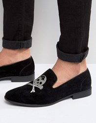 Asos Smart Loafers In Black Faux Suede With Skull And Crossbones Black