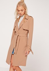 Missguided Long Sleeve Trench Coat Storm Back Tan Brown