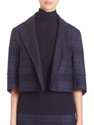 Akris Reversible Emma Double Face Wool Plaid Jacket Bluejay Starling