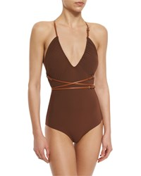 Michael Kors Collection Belted Wrap One Piece Swimsuit Women's Size 6 Brown
