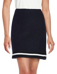 Helene Berman Crochet Contrast Trim Skirt Navy