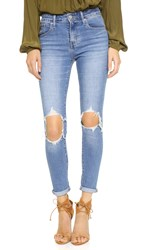Levi's 721 High Rise Distressed Skinny Jeans Rugged Indigo