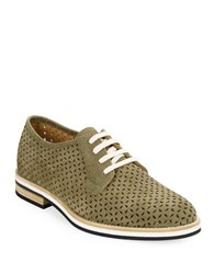 Aquatalia By Marvin K Zola Perforated Leather Oxfords Military Green