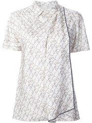 3.1 Phillip Lim Printed Satin Draped Top Nude And Neutrals