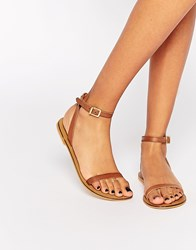 Asos Finlay Leather Flat Sandals Tan