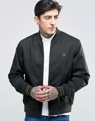 Fred Perry Bomber Jacket With Tiping In Dark Racing Green Dk Rac Gr