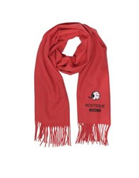 Moschino Solid Wool Olive Oil Long Scarf W Fringe Red