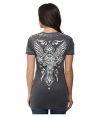 Affliction Brave Short Sleeve V Neck Tee Black Burnout Women's T Shirt