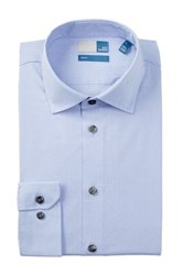14Th And Union Long Sleeve Trim Fit Dobby Dot Dress Shirt Blue