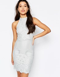 Missguided Floral Lace Double Layer Pencil Dress Grey