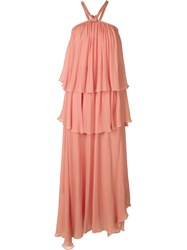 Jay Ahr Tiered Evening Dress Pink And Purple