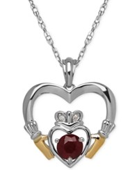 Macy's Ruby 5 8 Ct. T.W. And Diamond Accent Heart Pendant Necklace In Sterling Silver And 14K Gold