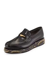 Versace Studded Wedge Leather Loafer Black Gold