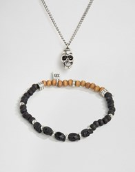 Icon Brand Skull Necklace And Bracelet 2 Pack Silver