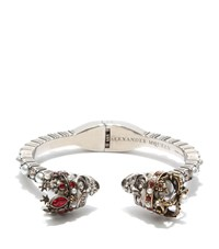 Alexander Mcqueen King And Queen Skull Bracelet Female Silver