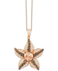 Le Vian Chocolatier Peach Morganite 5 8 Ct. T.W. And Diamond 7 8 Ct. T.W. Starfish Pendant Necklace In 14K Rose Gold
