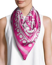 Versace Silk Floral Medallion Print Square Scarf Pink White