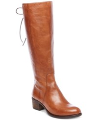 Steve Madden Women's Lace Up Tall Boots Women's Shoes Cognac Leather