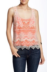 Angie Lined Crochet Tank Orange