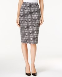 Grace Elements Printed Pencil Skirt Black White Geo Floral