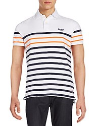 Superdry Striped Cotton Polo Optic White