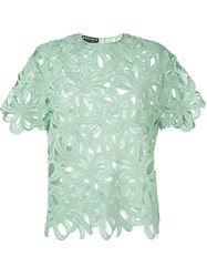 Rochas Floral Embroidered Top Green