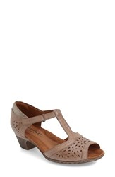 Women's Cobb Hill 'Alyssa' T Strap Sandal Khaki Leather