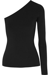 Theory Uleera One Shoulder Stretch Knit Top Black