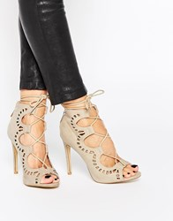Ax Paris Annabel Ghillie Lace Up Heeled Sandals Cream