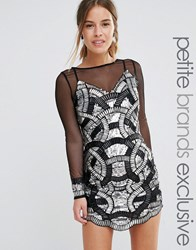 Maya Petite Heavily Embellished Mini Dress With Mesh Sleeves Black Silver