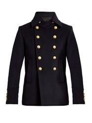Balmain Double Breasted Wool Pea Coat Navy