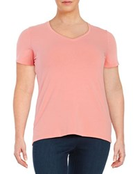 Lord And Taylor Plus Stretch Cotton V Neck Tee Graprefruit