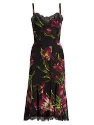 Dolce And Gabbana Tulip Print Silk Blend Charmeuse Midi Dress Burgundy Multi