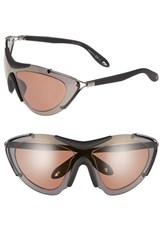 Women's Givenchy 65Mm Shield Sunglasses Dark Ruthenium Black