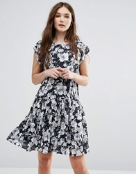 Y.A.S Show Drop Waist Dress In Black And White Floral Print