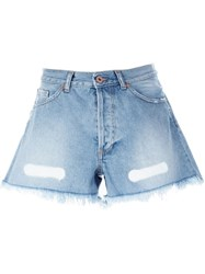 Off White Frayed Denim Shorts Blue
