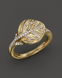 Michael Aram 18K Yellow Gold Small Botanical Leaf Ring With Diamonds Gold White