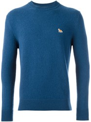 Maison Kitsune Small Chest Patch Pullover Blue