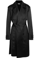 Protagonist Double Breasted Satin Trench Coat Midnight Blue