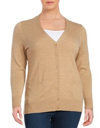 Lord And Taylor Plus Button Front Merino Wool Cardigan Classic Camel Heather