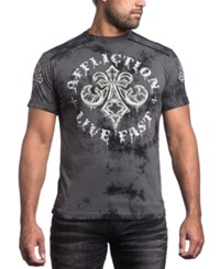 Affliction Men's Royale Rust Graphic Print T Shirt Charcoal Black Crystal