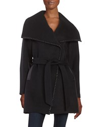 Elie Tahari Natasha Leather Trim Wool Blend Belted Walker Coat Black