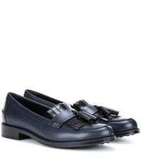 Tod's Frangia Leather Loafers Blue